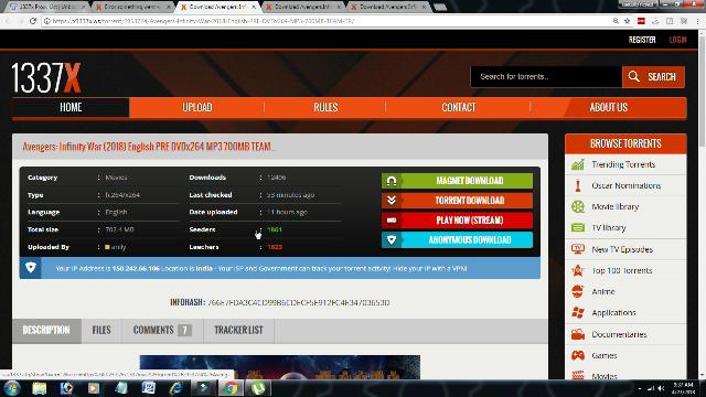 avengers infinity war torrent download